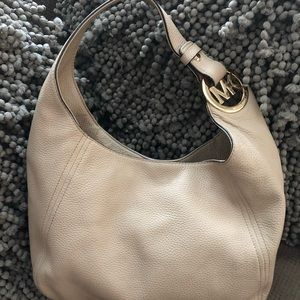 Michael Kors Leather Hobo Purse Beige Gently Used